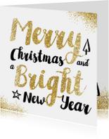 Zakelijke kerstkaarten - Merry Christmas met gouden glitters