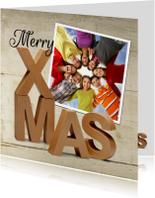 Zakelijke kerstkaarten - Merry X-Mas eigen foto hout 3