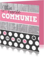 Communiekaarten - mijn eerste communie roze