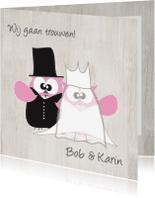 Trouwkaarten - Mo Card trouwkaart uiltjes houtstructuur