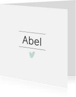 Geboortekaartjes - Modern en lief geboortekaartje met blauw hartje