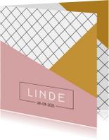Geboortekaartjes - Modern geboortekaartje meisje met roze en gele vlakken