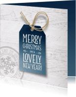 Kerstkaarten - Moderne kerstkaart label hout