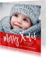Kerstkaarten - Moderne vierkante kerstkaart met foto rood