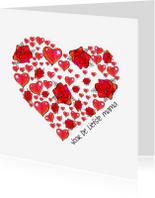 Moederdag kaarten - Moederdag kaart bloemen hart