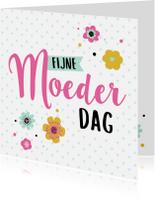 Moederdag kaarten - Moederdag kaart bloemen hartjes