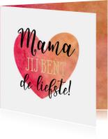 Moederdag kaarten - Moederdag kaart hart aquarel