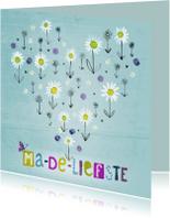 Moederdag kaarten - Moederdag kaart met madeliefjes in een hart