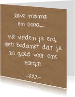 Moederdag kaarten - Moederdag - Lieve mama en oma
