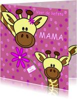 Moederdag kaarten - Moederdag   mama giraf en haar kindje
