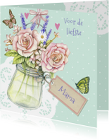 moederdag met vaasje rozen