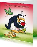 Moederdag kaarten - Moederdag penguins 4 hartje - RN