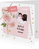Moederdag kaarten - Moederdag roos op papiertjes