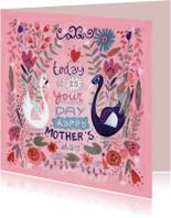 Moederdag kaarten - Moederdag Zwanen en Bloemen