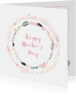Moederdagkaart met fleurige bloemenkrans