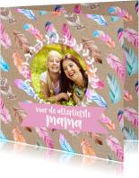 Moederdag kaarten - Moederdagkaart met lieve veertje en foto