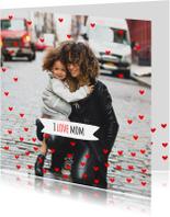 Moederdag kaarten - Moederdagkaart rode hartjes mom
