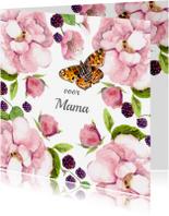 Moederdag kaarten - Moederdagkaart Rozenstruik vlinder