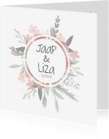 Trouwkaarten - Mooi Bohemian trouwkaartje met watercolor bloemen
