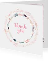 Bedankkaartjes - Mooie bedank kaart mooie fleurige bloemenkrans