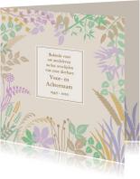 Rouwkaarten - Mooie bedankkaart met blaadjes en takjes in pastel-tinten