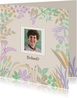 Rouwkaarten - Mooie bedankkaart met blaadjes in pastel-tinten