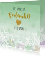 Bedankkaartjes - Mooie bedankkaart met bloemen, blaadjes in pasteltinten