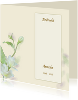 Rouwkaarten - Mooie bedankkaart met zachte bloemen en tekstvoorstel