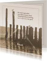 Rouwkaarten - Mooie bedankkaart met zeewering aan strand in zee
