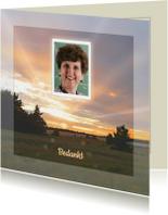 Rouwkaarten - Mooie bedankkaart met zonsondergang  in de natuur