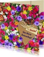 Beterschapskaarten - Mooie beterschapskaart vlinder met kleurige bloemen en hart