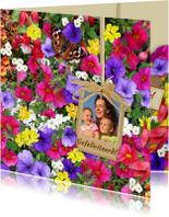 Bloemenkaarten - Mooie bloemenkaart met foto en diverse bloemen
