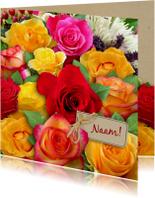 Bloemenkaarten - Mooie  bloemenkaart met mooi boeket rozen