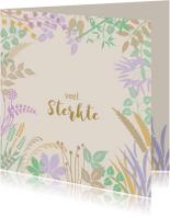 Condoleancekaarten - Mooie condoleancekaart blaadjes en takjes in pasteltinten