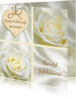 Felicitatiekaarten - Mooie felicitatiekaart met roos en hart wit