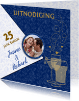 Jubileumkaarten - Mooie jubileumkaart uitnodiging 25 jaar samen