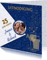 Uitnodigingen - Mooie jubileumkaart uitnodiging 25 jaar samen