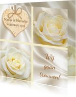 Trouwkaarten - Mooie klassieke trouwkaart met witte rozen op zijde