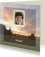 Rouwkaarten - Mooie rouwkaart met zonnestralen in natuur