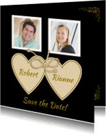Trouwkaarten - Mooie trouwkaart Save the Date met hartjes en eigen foto