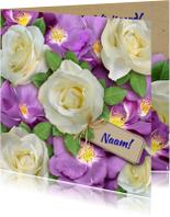 Verjaardagskaarten - Mooie verjaardagkaart witte en wilde rozen