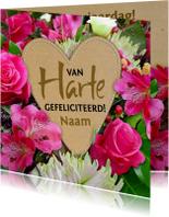 Verjaardagskaarten - Mooie verjaardagskaart hart en bloemen