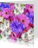 Zomaar kaarten - Mooie zomaar kaart met witte gladiolen en andere bloemen