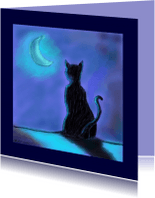 Dierenkaarten - Nathalie Antalvari Kat in Maanlicht