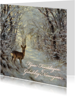 Kerstkaarten - Natuurkerstkaart met  wintertafereel 'Hert in winterbos'