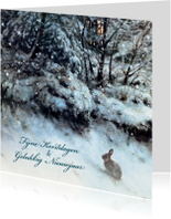 Kerstkaarten - Natuurkerstkaart wintertafereel konijn in sneeuw