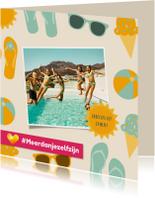 Neckermann vakantiekaart met zomerse figuren en eigen foto