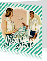 Verhuiskaarten - New Home vintage stelletje