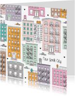 Vakantiekaarten - New York pastel illustratie
