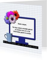 Felicitatiekaarten - Nieuwe baan computer met bloemen